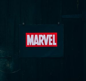 Black paper with the red Marvel branding in the centre